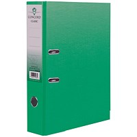 Concord Classic A4 Lever Arch Files, Printed Lining, Green, Pack of 10