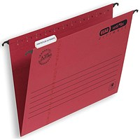 Elba Verticflex Ultimate Suspension Files, V Base, 15mm Capacity, Foolscap, Red, Pack of 25