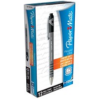 Paper Mate Flexgrip Retractable Ball Pen, Black, Pack of 12