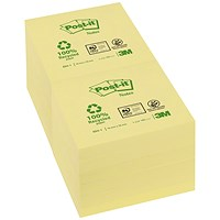 Post-it Recycled Notes, 76x76mm, Yellow, Pack of 12 x 100 Notes