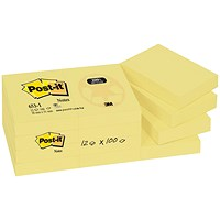 Post-it Recycled Notes, 38x51mm, Yellow, Pack of 12 x 100 Notes