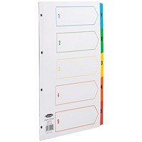 Concord Index Dividers, 1-5, Multicoloured Mylar Tabs, A4, White
