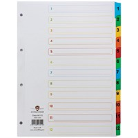 Concord Index Dividers / 1-12 / Multicoloured Mylar Tabs / A4 / White