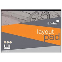 Silvine Layout Pad, A3, Acid Free, 50gsm, 80 Sheets