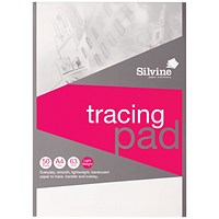 Silvine Tracing Pad, A4, Acid Free, 50gsm, 50 Sheets