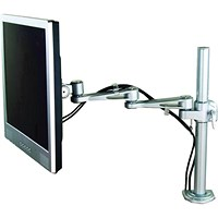LCD Desktop Mount 2-Way Adjustable Monitor Arm, Up To 24 inch, Holds 10kg, Silver