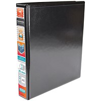Elba Panorama Presentation Ring Binder, A5, 2 D-Ring, 25mm Capacity, Black, Pack of 6