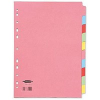 Concord Subject Dividers, 10-Part, A4, Assorted