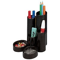 Desk Tidy with 6 Compartment Tubes - Black