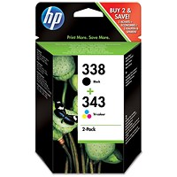 HP 338 Black/343 Tri-Colour Ink Cartridges (2 Cartridges)