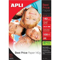 Apli A4 Glossy Photo Paper, White, 140gsm, Pack of 100 Sheets