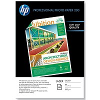 HP A4 Professional Glossy Laser Photo Paper, White, 200gsm, Pack of 100