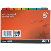 5 Star Guide Cards, A-Z, 152x102mm, White with Coloured Tabs, Pack of 24