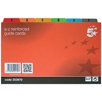 5 Star Guide Cards, A-Z, 203x127mm, White with Coloured Tabs, Pack of 24