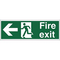 Stewart Superior Fire Exit Sign Man and Arrow Left W450xH150mm Self-adhesive Vinyl