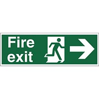 Stewart Superior Fire Exit Sign Man and Arrow Right W450xH150mm Self-adhesive Vinyl