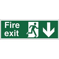 Stewart Superior Fire Exit Sign Man and Arrow Down W450xH150mm Self-adhesive Vinyl