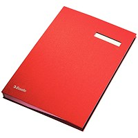Signature Book with Blotting Card, 340x240mm, 20 Compartments, Red
