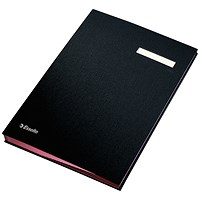 Signature Book with Blotting Card, 340x240mm, 20 Compartments, Black