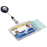 Durable Dual Security Badge Holder with Name Badge & 850mm Reel - Pack of 10