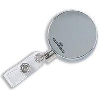 Durable Badge Reel with Clip & Retractable Cord, Chrome, Pack of 10
