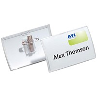 Durable Name Badge, Click Fold, Combi-Clip, 90x54mm, Pack of 25