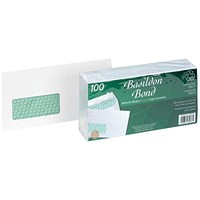 Basildon Bond Recycled DL Envelopes, Window, White, Peel & Seal, 120gsm, Pack of 100