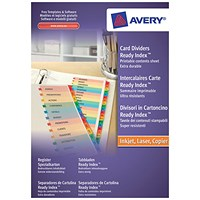 Avery ReadyIndex Dividers, Jan-Dec, Multicoloured Mylar Tabs, A4, White