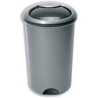 Addis Bin with Rotating Lid & Footplate, 50 Litre, Metallic Silver