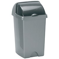 Addis Roll Top Bin, 25 Litres, Metallic Silver