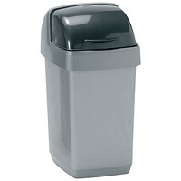 Addis Roll Top Bin, 10 Litres, Metallic Silver