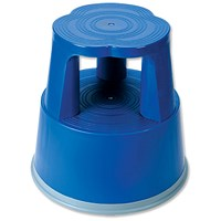 5 Star Mobile Step Stool, Plastic, Blue