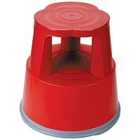 5 Star Mobile Step Stool, Plastic, Red