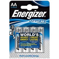 Energizer Ultimate Lithium Battery / LR06 / 1.5V / AA / Pack of 4