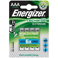 Energizer Advanced Rechargeable Battery, NiMH Capacity 800mAh LR03, 1.2V, AAA, Pack of 4