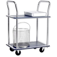 5 Star 2 Shelf Trolley, Steel Frame, Capacity 120kg, Chrome