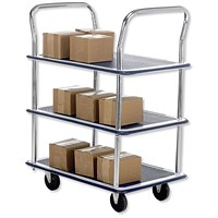 5 Star 3 Shelf Trolley, Steel Frame, Capacity 120kg, Chrome