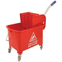 Mobile Mop Bucket with Handle, 20 Litre, Red