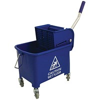 Mobile Mop Bucket with Handle, 20 Litre, Blue