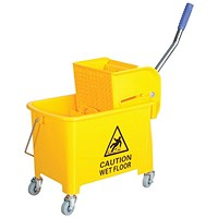 Mobile Mop Bucket with Handle, 20 Litre, Yellow