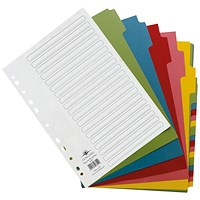 Concord Recycled Dividers, 20-Part, Multicoloured Tabs, A4, White