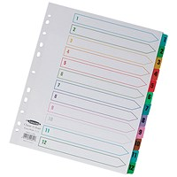Concord Index Dividers / Extra Wide / 1-12 / Multicoloured Tabs / A4 / White
