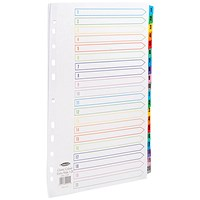 Concord Index Dividers, Extra Wide, 1-20, Multicoloured Tabs, A4, White