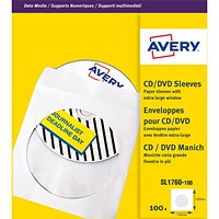 Avery CD/DVD Paper Sleeves / 126x126mm / White / SL1760-100 / Pack of 100