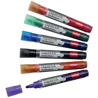 Nobo Liquid Ink Drymarker Drywipe Flipchart OHP, Bullet Tip, Assorted Colours, Wallet of 6