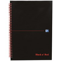Black n' Red Recycled Wirebound Notebook, A4, 140 Pages, Pack of 5