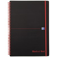 Black n' Red Recycled Wirebound Polypropylene Notebook, A4, Ruled & Perforated, 140 Pages, Pack of 5