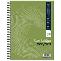 Cambridge Notebook Recycled Wirebound Notebook, A4, Ruled with Margin, 200 Pages, Pack of 3