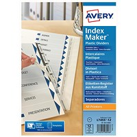Avery IndexMaker Dividers, 12-Part, Clear Tabs, A4, White