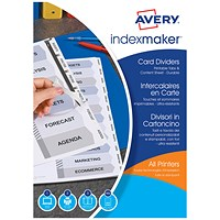 Avery IndexMaker Dividers, 5-Part, Clear Tabs, A4, White